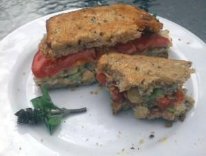 Half-Eaten Vegan Tuna Sandwich