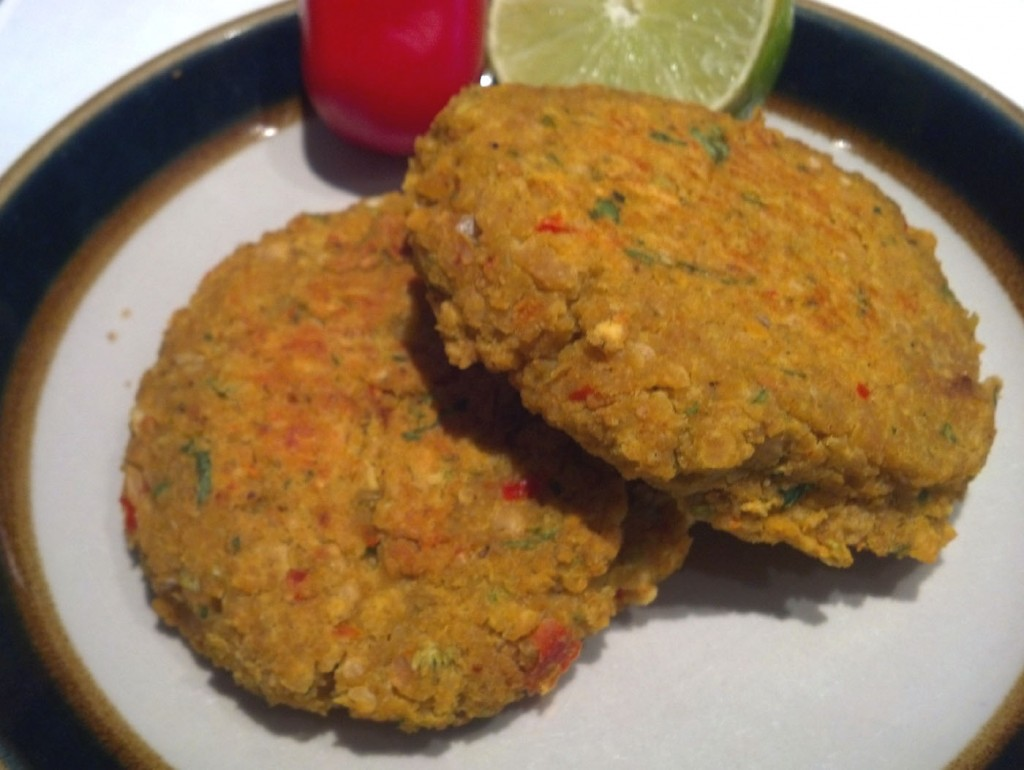 Savory Red Lentil and Garbanzo Cakes