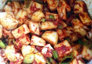 Daikon Kimchi Ingredients Mixed