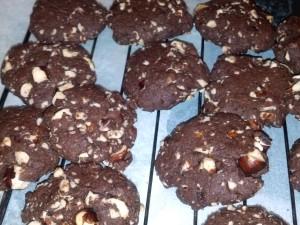 Choc Hazel Cookies Cooling