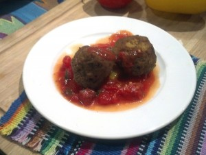 Plate of Vegan Meatballs Finished