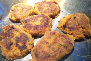 Sweet Potato Cakes Cooking